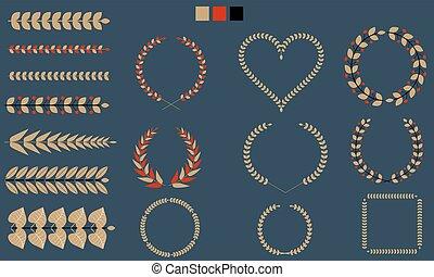 branches, ensemble, feuille, illustration., plat, tricolor., vecteur, couronnes