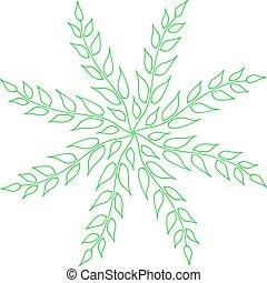 branches, feuilles, isolé, main, arrière-plan., floral, dessiné, cercle blanc, rond