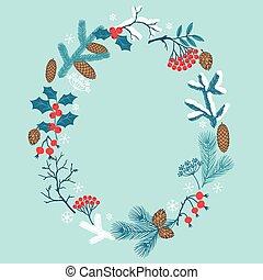 branches., hiver, cadre, stylisé, joyeux noël