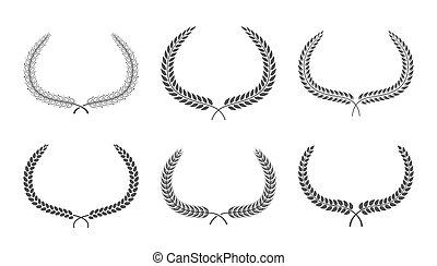 branches, illustration, ensemble, vecteur, laurier, foliage., couronnes
