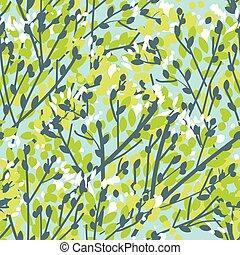 branches, printemps, arbre, seamless, modèle, tendre