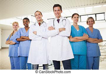 bras, médecins, infirmières, traversé