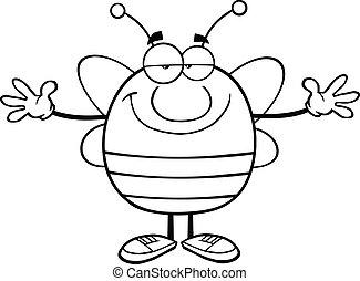 bras ouvrent, esquissé, abeille