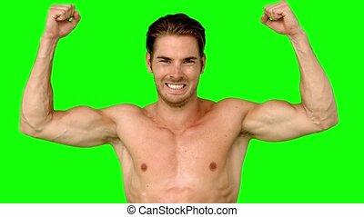 bras, sportif, élévation, sien