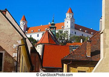 bratislava, château, bratislava, vue, slovaquie, rue, farska