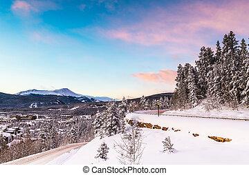 breckenridge, horizon, usa, ville, hiver, colorado