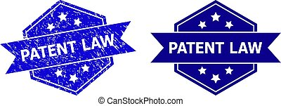 brevet, cachet, corrodé, propre, droit & loi, style, variante, hexagonal