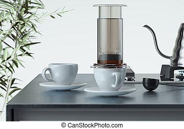 brewing., cup., café, moderne, rendre, préparé, fabricant, 3d, blanc, noir, fraîchement, alternative