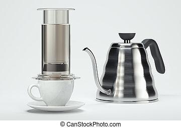 brewing., cup., café, moderne, rendre, préparé, fabricant, 3d, gris, blanc, noir, fraîchement, alternative