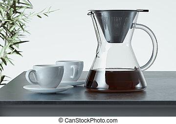 brewing., cup., café, rendre, préparé, fabricant, 3d, blanc, noir, fraîchement, verre, alternative