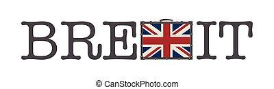 brexit, blanc, isolé, vecteur, fond, illustration