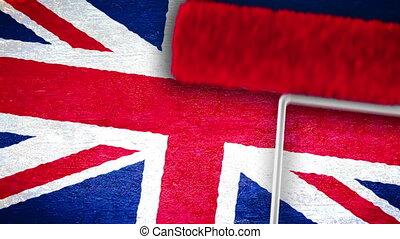 brexit, mur, -, drapeau, royaume-uni, eu, repainting