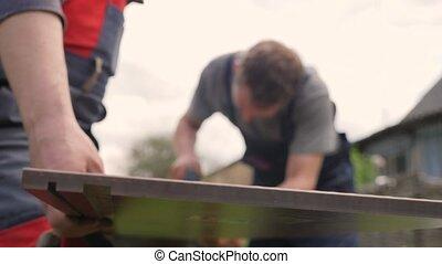 bricolage, charpentier, saw., outils, menuisier, bois, planche, construction, amélioration, ouvrier, repair., renovation., maison, installation, réparation, panneau, jardin, scier, maison, électrique, découpage