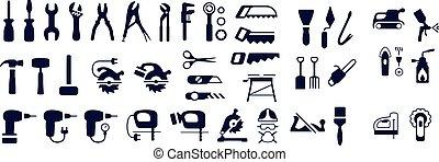 bricolage, rénovation, construction, icône, vecteur, icônes, mettez stylique