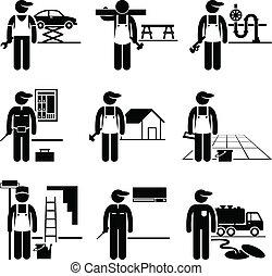 bricoleur, habile, travaux, métiers