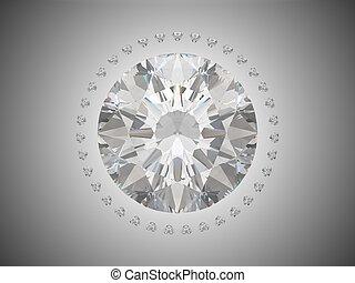 brillant, sommet, coupure, vue, diamant