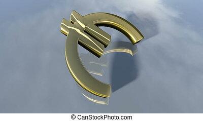 brillant, tomber, signe., animé, euro, 3d, rendre, 4k, argent