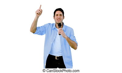 brin, homme, chant, microphone