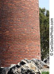 brique, base, cheminée