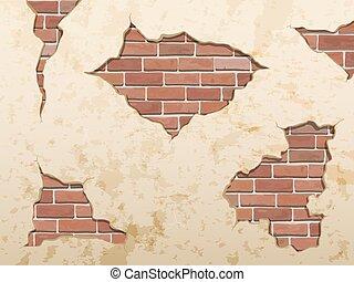 brique concrète, vieux, mesquin, fissure