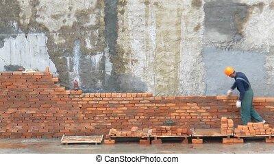 brique, ouvrier, défaillance, temps