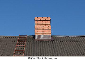 brique, rouges, cheminée