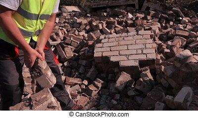 briques, constructeur, tri