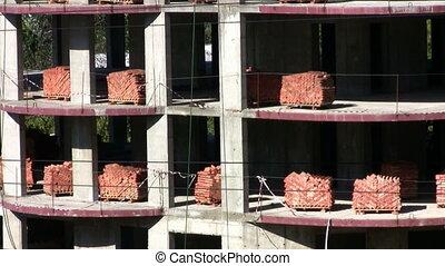 briques, construction, palettes