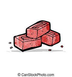 briques, dessin animé