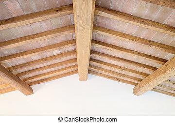 briques, italie, plafond, wall., traditionnel, faisceau, bois, toscan, rouges