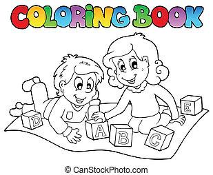 briques, livre coloration, gosses