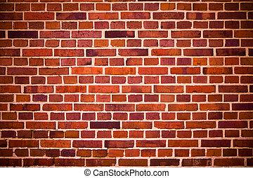 briques, mur, rouges