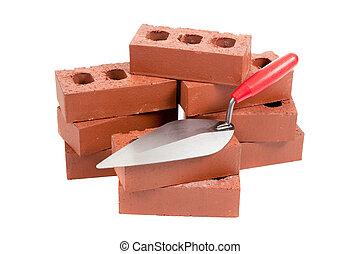 briques, truelle, maçon