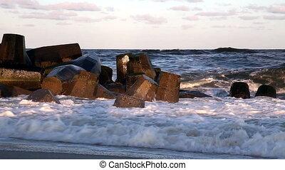 briser, océan, sur, jetée, vagues