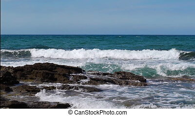 briser, pulvérisation mer, vagues