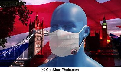britannique, masque, modèle, cityscape, covid-19, porter, cellules, onduler, tête humaine, contre, sur, figure, drapeau