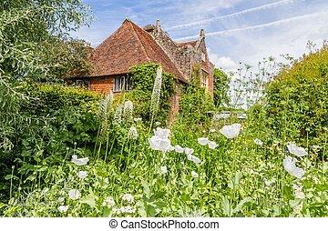 britannique, pendant, sussex, coloré, château, jardin, angleterre, printemps