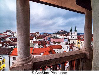 brno, république, tchèque, soir, cityscape