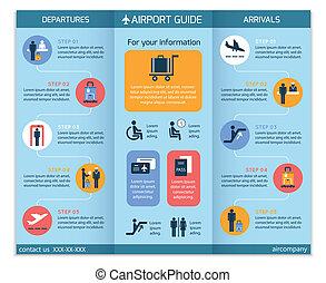 brochure, aéroport, infographic, business