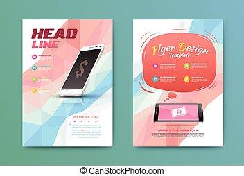 brochure, aviateur, technologie, conception