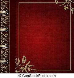 bronzé, -, album, orné, couverture, rouges, photo