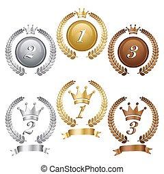 bronze argent or, médailles