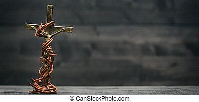 bronze, bois, art, christ, religieux, tonalité, métal, noir, fil, jésus, barbelé, crucifix, fond, vendange, icône