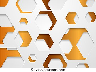 bronze, papercut, fond, blanc, hexagones, résumé