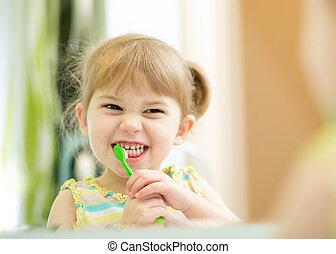 brossage, rigolote, girl, enfant, dents