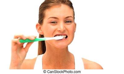 brossage, teeths, femme, elle