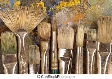 brosses, palette, artist's