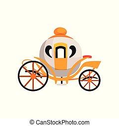 brougham, vendange, illustration, conte, voiture, vecteur, fond, fée, blanc