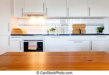brouillé, espace, cuisine, bureau, intérieur