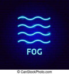 brouillard, étiquette, néon
